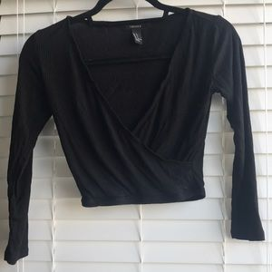 Forever 21 Ribbed crop wrap top